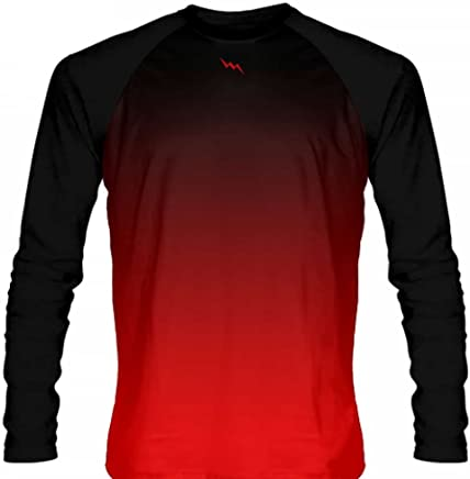 b46d109fedd LightningWear Black Red Fade Ombre Basketball Long Sleeve Shirt