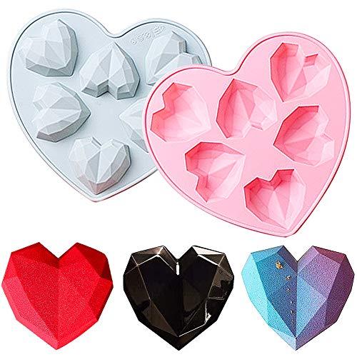 Heart en forma de molde LLMZ 2 pcs Heart Chocolate Molde Diamante Corazón Forma Silicona Molde Premium Antiadherente Moldes para Tartas Repostería Bizcocho Gelatina Jabón Muffin Pudín