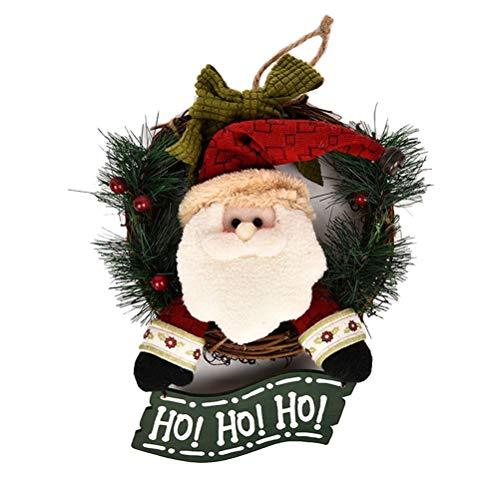 Guirlanda de porta de Natal com boneco do Papai Noel de Ho Ho Hoo, laço de laço, enfeite de Natal, 29 cm