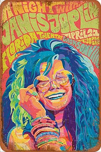 Janis Joplin Letrero de chapa vintage, pintura de hierro, letrero de metal retro, placa, arte, decoración de pared, 8 × 12 pulgadas