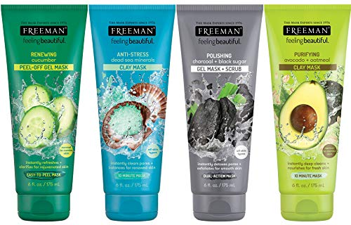 Freeman Facial Mask Variety Bundle-For Skin Care, Features Peel Off Face Masks with Clay Dead Sea Mineral, and Polishing Charcoal, 6 fl oz, 4 Pack