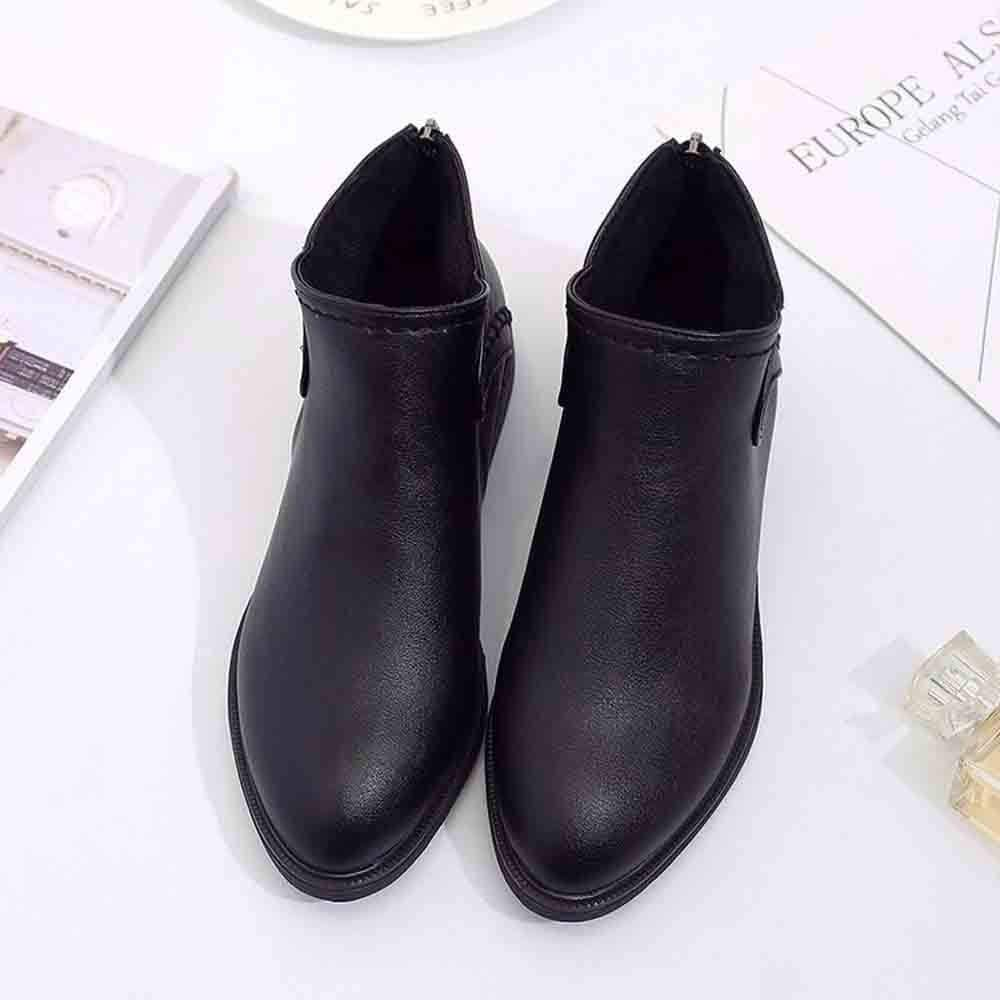 Workout Booties Slip On Wedges Shoes Single Shoes Pointed Toe Zip Boots Memela Women Ankle Boots