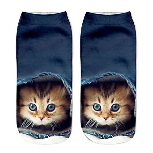 YUNGYE Unisex Frauen Harajuku Socken Kurz Socken 3D Cat Printed Schöne Socken beiläufige reizende Mädchen populäre Bequeme Anklet Soxs Socken (Color : C, Size : M)