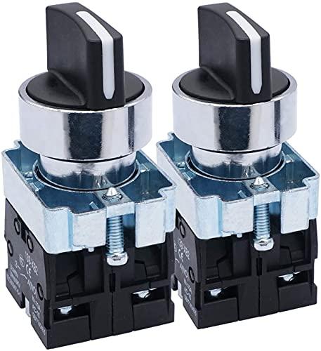 Taiss - 2 conmutadores selectores giratorios de 22 mm. 2 No, 3 posiciones. 440 V, 10 A. XB2-20X/31