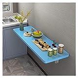 GHHZZQ Mesa Plegable de Pared Banco de Trabajo Impermeable Mesa de Comedor Plegable Ahorro de Espacio Usado para Cuarto de Lavado Comedor Cocina (Color : Blue, Size : 70x50cm)
