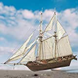 Herbests Modelos de Barcos de Madera, Kit de Modelo de velero de Bricolaje Modelo de velero de Madera Modelo de ensamblaje de Barco Modelo de velero clásico, 400 * 150 * 270 mm