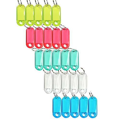 Cosmos Pack of 25 Assorted Color Coded Key Tag with Label Window Ring Holder