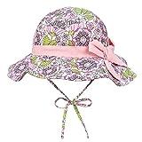 Foruhoo Cappello da sole da bambina, protezione UV, larghezza regolabile, con tesa Poliestere: rosa 48 cm