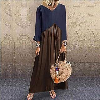 QGTDRESS Stitching Contrast Color Irregular Long-Sleeved Dress, Size: 2XL(Purple) (Color : Khaki, Size : L)