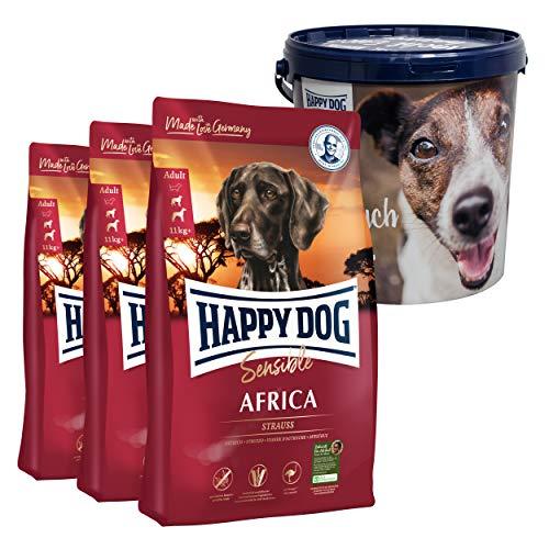 Happy Dog Africa Aktion 3 x 4 kg + 20 Liter Futtertonne inklusive Deckel - Stets frisch und leicht zu tragen und zu lagern. Getreidefrei, nur Strauß als Protein