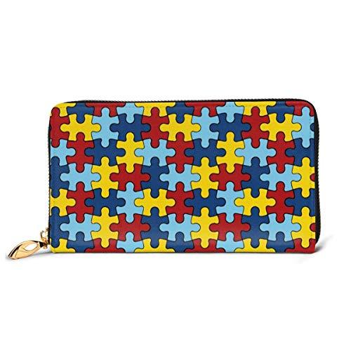 Womens Kleurrijke Jigsaw Puzzel Lederen Portemonnees RFID Blokkeren Rits Rond Portemonnee Echt Lederen Koppeling Portemonnee Kaarthouder Reizen portemonnee Polsband