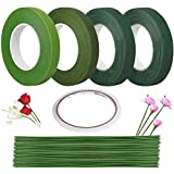 4 Roll 1/2 Inch Floral Tape and 60 Pcs 20 Gauge Floral Stem Wire 9.84 Inch with 1 Roll Double-Sided Adhesive Tape for Floral Arrangement Artificial Bouquet Stem Wrap Florist …