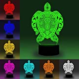 7 Color Changing Night Lamp 3D Atmosphere Bulbing Light 3D Visual Illusion LED Lamp for Kids Toy Christmas Birthday Gifts (Turtles)