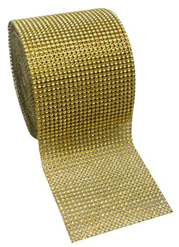"Gold Diamond Rhinestone Mesh Ribbon, Wedding Ribbon, Diaper Cake Ribbon, 4.75"" x 10 Yards, 24 Row, 1 Roll"