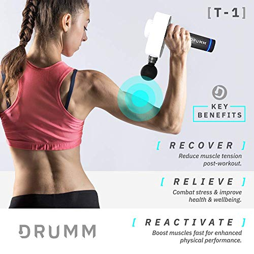 DRUMM T-1 Massage Gun   Deep Tissue Percussion Massager Handheld   Muscle Stimulator   6 x Attachment Heads   Low Noise   High Speed   Carry Case   Cordless  Brushless Motor  Electric Body Massage Gun