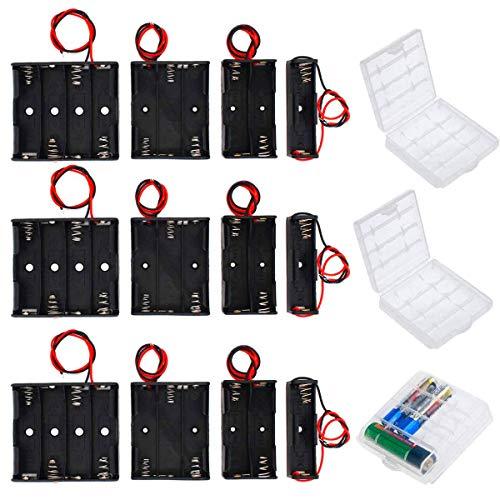 HUAYAO 12 Piezas 1.5V/3V/4.5V/6V AA Caja de Soporte de Batería, Caja de Almacenamiento de Batería de Plástico + 3 Piezas Caja de Batería para AA y AAA, Transparente