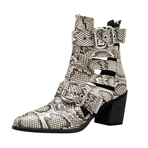 WUSIKY Geschenk für Frauen Stiefeletten Damen Bootsschuhe Boots Schlangendruck Dicke High Heels Stiefeletten Hohle Schnalle wies Kurze Stiefel (Weiß, 39.5 EU)
