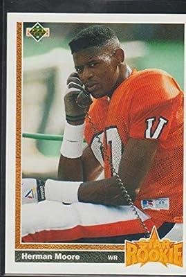 1991 Upper Deck Herman Moore Lions Star Rookie Football Card #17