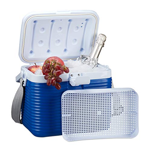 Relaxdays kleine koelbox, met handgreep, draagriem, kunststof koeltas, zonder stroom, 8 l, HBT 23,5 x 31 x 21 cm, wit-blauw
