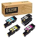 CMYBabee Compatible Toner Cartridge Replacement for Dell E525W Color Laser Printer 593-BBJX 593-BBJU 593-BBJV 593-BBJW (Black, Cyan, Magenta, Yellow, 4-Pack)