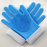 Guantes para lavar platos de silicona de terciopelo largo y largo, guantes de trabajo domésticos impermeables para gatos y perros, guantes de baño para mascotas anti-arañazos-blue||Plus cashmere