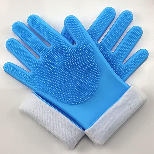 Guantes para lavar platos de silicona de terciopelo largo y largo, guantes de trabajo domésticos impermeables para gatos y perros, guantes de baño para mascotas anti-arañazos-blue  Plus cashmere