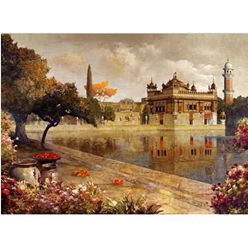 ArtWuDecor Print Retro Europese gebouwen olieverfschilderij op canvas kunst landschap muurschildering Lake Garden Boot voor woonkamer bank 60x90cmx1 niet ingelijst