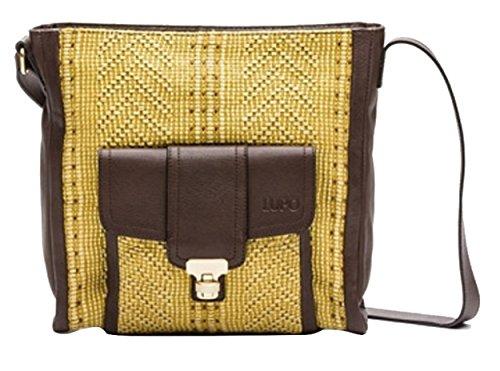 LUPO Bag - Bolso bandolera de tela de yute de color amarillo oscuro con bolsa de piel marrón oscuro con 1 bolsa de piel para dinero/tarjeta; 32 x 33 x 8 cm; número de modelo: 1100212-141-276SS12