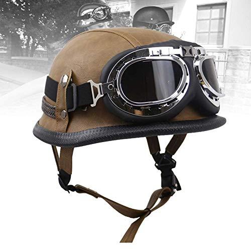 WSVULLD Motorradpilotenhelm Herren Lederhelm Motorradroller Halbhelme Oldtimer Gesicht Offene Fliegerbrille mit Schutzbrille DOT/ECE Zugelassen für Unisex (M-XXL, 57-64)