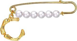 FOCALOOK Donna Spilla Perla Lettera Iniziale bambù A-Z Nome Alfabeto, Spilla Grande Vintage, Placcato Oro 18K, con Confezi...