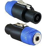 GLS Audio Speaker Plug Adapter 1/4' to Twist Lock 4 Pole & 2 Pole - Compatible with Neutrik Speakon NA4LJ, NA4LJX, NL4MP, NL4MPR, NL4FC, NL4FX, NL4 & NL2 Series, NL2FC, Speak-On - 2 Pack
