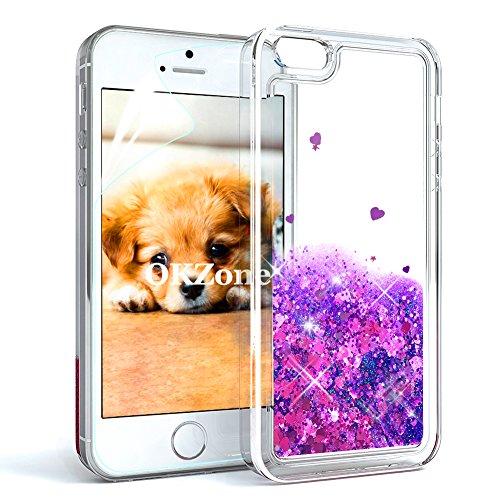 OKZone Cover iPhone 5/5S/SE [con Pellicola Proteggi Schermo], 3D Glitter Liquido TPU Cover,Brillantini Quicksand Bling Protettiva Custodia per Apple iPhone 5/iPhone 5S/iPhone SE (Cuore Viola)
