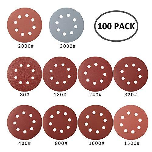 100 Pezzi Dischi Abrasivi 125,Carta Abrasivi a 8 fori, Grana da 10 X 80/180/ 240/320/ 400/800/ 1000/1500/ 2000/3000, Graniglie per Levigatura/Lucidatura/Spolveratura