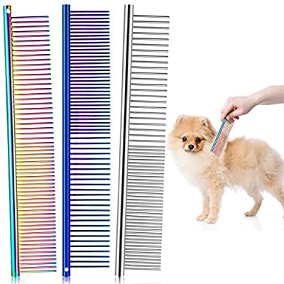 3 Pieces Pet Steel Combs, Pet Dog Cat Grooming Comb Multi-color Dog Comb with Stainless Steel Teeth for Removing Tangles and Knots for Long and Short Haired Dog, 7.5 x 1.3 Inch from Boao
