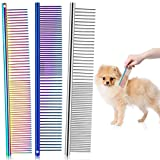 3 Pieces Pet Steel Combs, Pet Dog Cat Grooming Comb Multi-color Dog Comb with Stainless Steel Teeth for Removing Tangles and Knots for Long and Short Haired Dog, 7.5 x 1.3 Inch