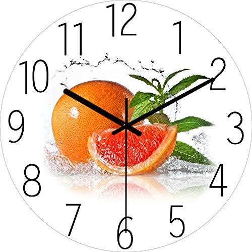 OUJIE Cocina Reloj De Pared,Naranjas De Frutas Vidrio Templado Reloj Silencioso,Utilizado para Inicio Decoracion Sala De Estar Dormitorio Moderno Reloj