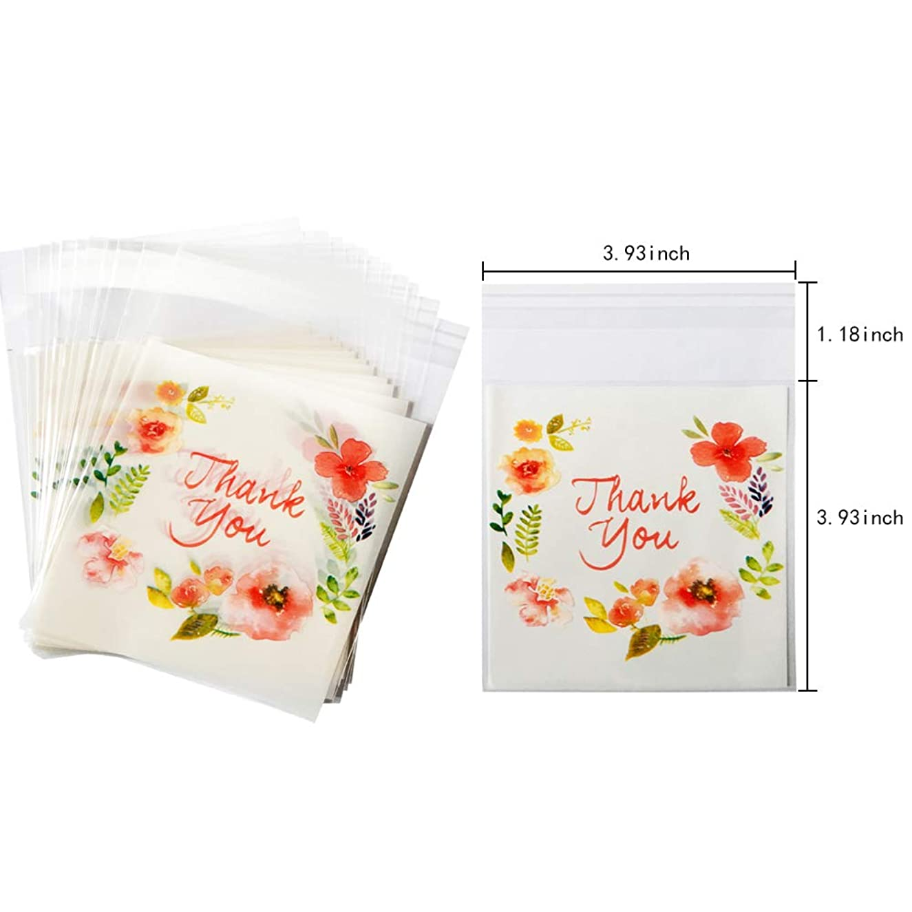 Thank You Cellophane Pink Flower Plastic Pack Candy Cookie Bags Self Adhesive Bags 200 Pcs(3.93x3.93+1.18 Inch)