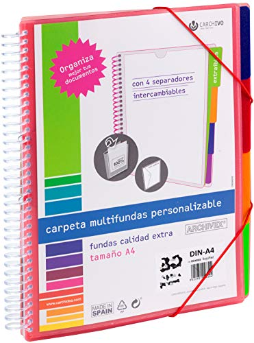 Carchivo -Carpeta Archivex personalizable de 30 fundas con separadores intercambiables, color rojo