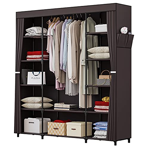 59 Inch Portable Wardrobe Closet Clothes Organizer with Metal Shelves and Dustproof Non-Woven Fabric (Coffee)