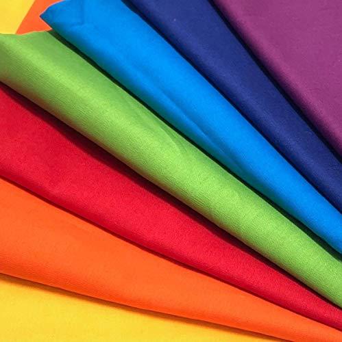 Regenbogen Muster-Mix 7 x 0,5m 100% Baumwolle Stoffbreite 1,4m Farbverlauf (insgesamt 3,5m x 1,4m)