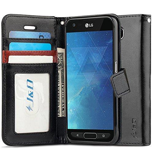 JundD Schutzhülle kompatibel für LG X Venture/LG X Calibur/LG V9 Hülle, [Wallet Stand] [Slim Fit] Heavy Duty Stoßfest Flip Cover Wallet Hülle für LG X Venture, LG X Calibur, LG V9 Wallet Hülle - Schwarz