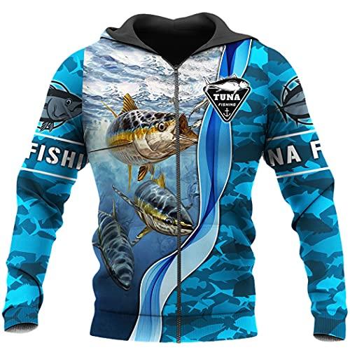 SDSVFG Felpe con Cappuccio Stampate per la Pesca del tonno 3D Harajuku Streetwear Felpa con Cappuccio Unisex Casual Pullover Giacca Autunnale Tute