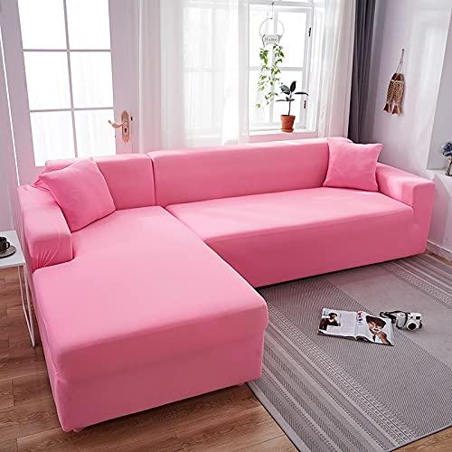 WXQY Fundas de Color Liso Funda de sofá elástica elástica Funda de sofá de protección para Mascotas Funda de sofá de Esquina en Forma de L Funda de sofá con Todo Incluido A16 3 plazas