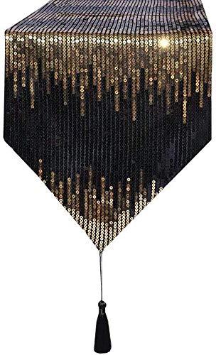 zachking Camino de mesa de comedor con lentejuelas 3E Home con borlas para fiestas, banquetes, bodas, decoración de mesa de 30 x 305 cm, color negro y dorado