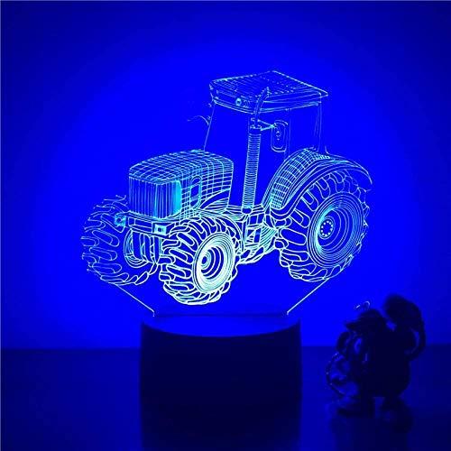 Lámpara de ilusión 3D Animación de arrastre de neumáticos grande 7 colores Sensor táctil Cambio de color Luz nocturna Regalo para niños Dormitorio infantil Lámpara decorativa-16 color remote control