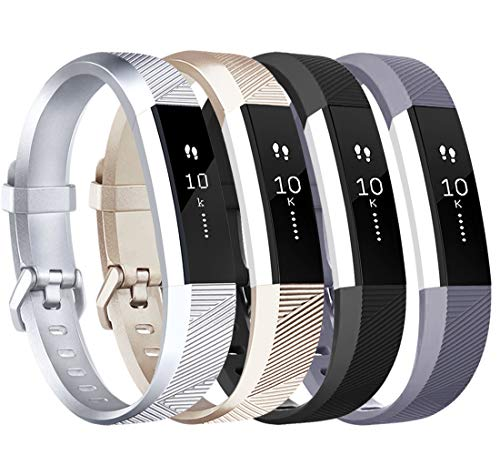 Tobfit Compatible with Alta Bands, 4 Pack, Soft TPU Classic Accessories Replacement Bands Compatible with Alta HR/Ace, Small Large (Small, Black/Silver/Champagne Gold/Grey)