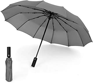 Windproof Travel Umbrella with Teflon Coating Auto Open Close Button and Upgraded Comfort Handle Lightweight 12 Ribs Automatic Canopy Compact (Gray)