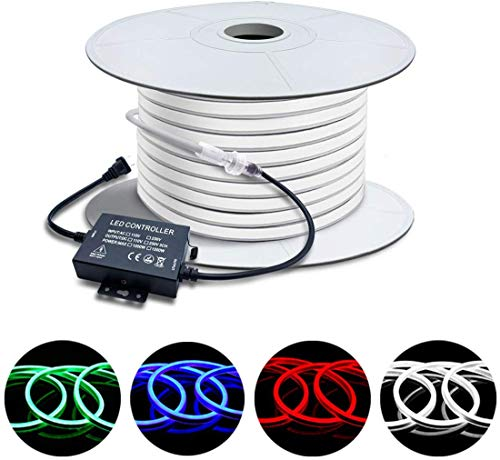 Brillihood 50ft/15m LED RGB Neon Rope Light, 120V (150ft Max) Linkable Light Strip, IP67 Waterproof, Multicolor Neon Strip Lighting with RF Remote Controller for Indoor Outdoor Ambient Decoration