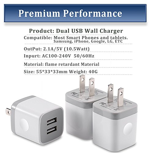 STELECH USB Wall Charger, Power Adapter 3-Pack (2.1Amp) Dual Port USB Charger Plug Box for iPhone X, 8, 8 Plus, 7, 7 Plus, 6, 6 Plus, 6S, 5S, iPad, iPod (White)