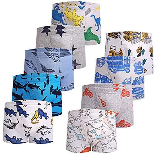 JackLoveBriefs Jungen Boxer Unterhose Baumwolle Kinder Unterwäsche (2-10 Jahre,Packung mit 9 Stück) B, Gr. 140